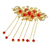 VORCOOL Bridal Hair Clip Exotic Allure Chinese Hair Comb Cheongsam Hair Accessory (Red)