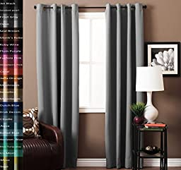 Turquoize Pair(2 Panels) Solid Blackout Drapes, Dove, Themal Insulated, Grommet/Eyelet Top, Nursery/Living Room Curtains Each Panel 52\