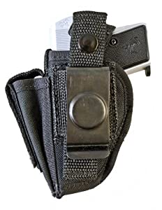 Outbags OB-01SC (LEFT) Nylon OWB Belt Gun Holster with Mag Pouch for Jennings J22, Taurus PT22 / PT25, Beretta 21A / 32 / 950, Raven Arms P-25, and Most Small Autos