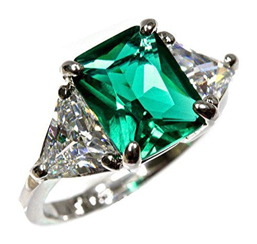 2ct 6mm X 8mm Sterling Silver 3 Stone Green Emerald Cut Trillion Cut CZ Engagement Ring (Sizes 3-13)