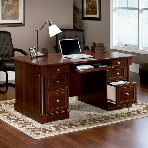 Sauder Palladia Executive Desk In Select Cherry back-1018626