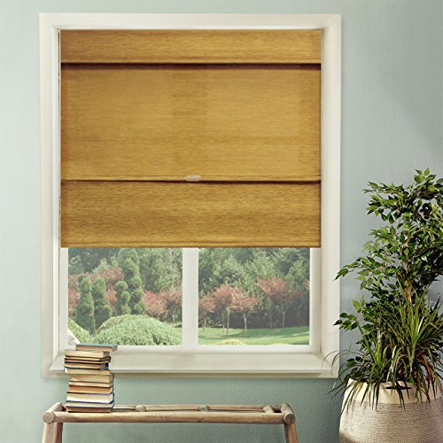 Chicology Cordless Magnetic Roman Shade, Natural Woven Fabric, Jamaican Antique Gold, 35