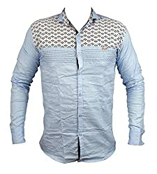 Zedx casual long sleeve printed single cuff LIGHT BLUE apple cut shirt for Men's