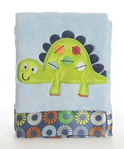 Bananafish Little Dino Blush Blanket, Blue - 1