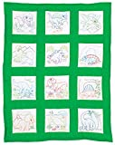 Jack Dempsey Stamped White Nursery Quilt Blocks (12 Pack), 9 by 9 , Dinosaurs
