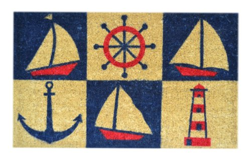 Imports Decor Decorated Coir Doormat, Nautical Design, 18-Inch by 30-Inch