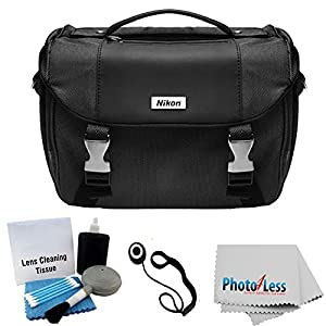 Nikon Starter Digital SLR Camera Lens Case Gadget Bag For D3100 D3200 D3300 D5200 D5300 D7000 D7100 D90 D60 D800 + Photo4less Cleaning Cloth and Camera & Lens 5 Piece Cleaning Kit