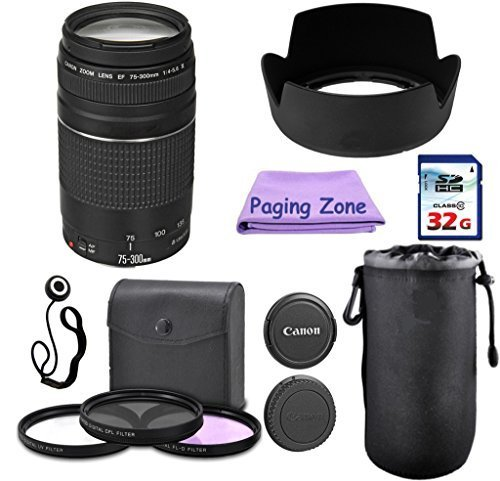Canon EF 75-300mm III Camera Lens PagingZone Deluxe Kit with 3pc Filter Set + Lens Case + Lens Hood + 32GB Class 10 Card. For EOS 6D, 70D, 5D MK II III, Rebel T3, T3i, T4i, T5, T5i SL1. (Canon Ef 16 35 F4 compare prices)