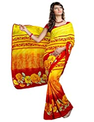 Triveni Indian Saree Beautiful Floral Printed Faux Georgette Saree