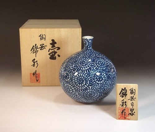有田焼・伊万里焼の高級陶器花瓶・飾り壺|贈答品|ギフト|記念品|贈り物|蛸唐草・藤井錦彩