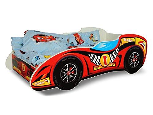 Lit voiture F1 rouge+sommier+matelas 140x70cm