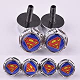 D&R® 4 Pcs Chrome Car parts Auto Logo Stainless Replacement License Plate Frame Screw Bolt Caps Covers emblem With Superman thumbnail
