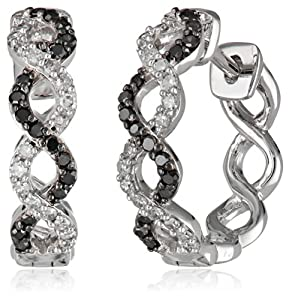 White-Gold Black and White Diamond Earrings (0.33cttw, G-H Color, I1-I2 Clarity)