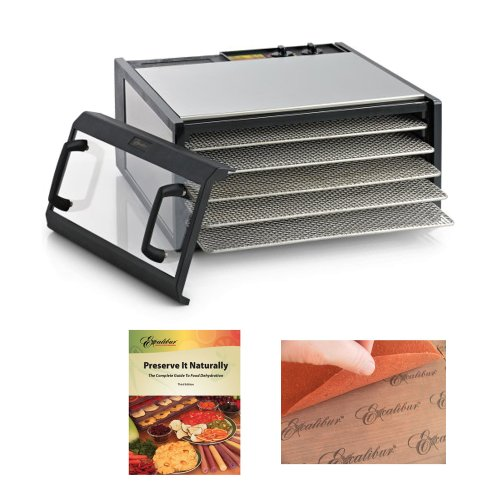 Excalibur Dehydrator Stainless Steel Clear Door 5-Tray/Ss-Trays + Excalibur Dehydrators Preserve It Naturally Book + Accessory Kit front-476628