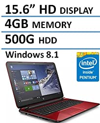 HP Red 15.6 Laptop PC with Intel Quad Core 2.16GHz CPU, 4GB RAM, 500GB HDD, DVD, Windows 10 (Certified Refurbished)