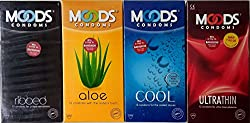 New Moods Condom Multi 48 Pcs-12*4 Premium Condoms:- 4 diffrent New Flavor Dotted, & Thin- 100% Privacy- Concealed Shipping