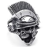 Anello in acciaio di Mens, cavaliere gotico casco Skull, nero KR800 d'argento, con sacchetto regalo (S)