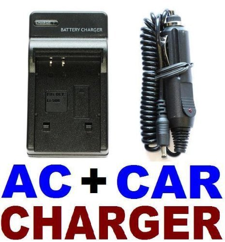 Ac Wall Charger + In Car Adapter For Li-50B Battery front-556862