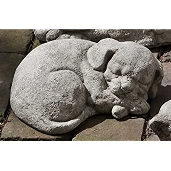 Campania International A-255-AS Curled Dog Statue, Small, Alpine Stone Finish