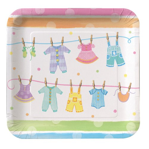 Creative Converting Baby Shower Baby Clothes 8 Count Paper Lunch Plates - 1