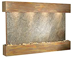 Sunrise Springs Water Feature with Rustic Copper Trim and Square Edges (Green FeatherStone)
