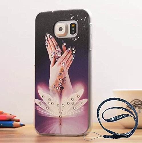 Fashion Crsytal Diamond Hard Plastic Back Case for Samsung S6 SVI Studded Rhinestone Solid Cover for Samsung Galaxy S6 Summer Spring Style + BIG MANGO Logo Long Strap - Grow up