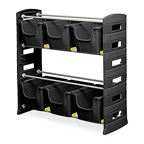 Toomax Utility Tools Tub Storage Unit with 6 Tubs and 2 Shelves, Black