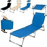 TecTake Chaise longue bain de soleil en aluminium pliable avec parasol pare soleil - diverses couleurs au choix - (Bleu)