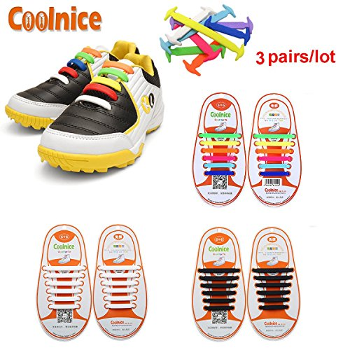 Coolnice 3 Pairs No Tie Shoelaces for Kids Funny DIY 312pcs- Elastic Stretch Environmentally Safe silicone - Lazy Shoestrings- 3 Colors (Zapatos Good Year compare prices)