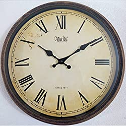 Ajanta Quartz Wooden Finished Plastic Limited Edition Round Shape With Roman Numbers (30 cm X 30 cm)