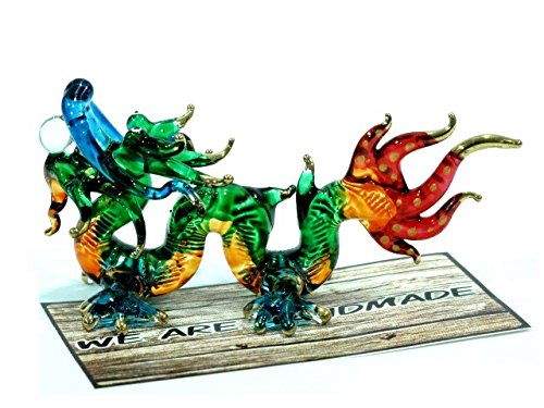 Handmade Lucky Dragon Art Glass Blown Fairy Tale Animal Figurine
