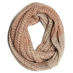 Dry77 Knitted Faded 2 Tone Infinity Loop Scarf, Pink