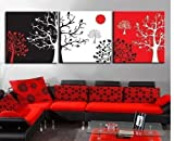 Neonphoenix Cyber Monday 100% Hand Painted Fashion Style Three Panels Different Color of Trees Modern Canvas Oil Paintings 3-pieces Abstract Landscape for Living Room Home and Wall Decoration