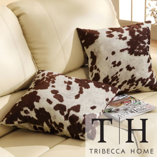2-set Cow Hide Print Pillows Are Perfect for Contemporary Furniture. These Decorative Throw Pillows Are on Sale. These Pillows Can Also Be Placed As a Welcome Piece of Outdoor Patio Furniture. Bar Stools Are Matching for Comforters and Duvet Covers.