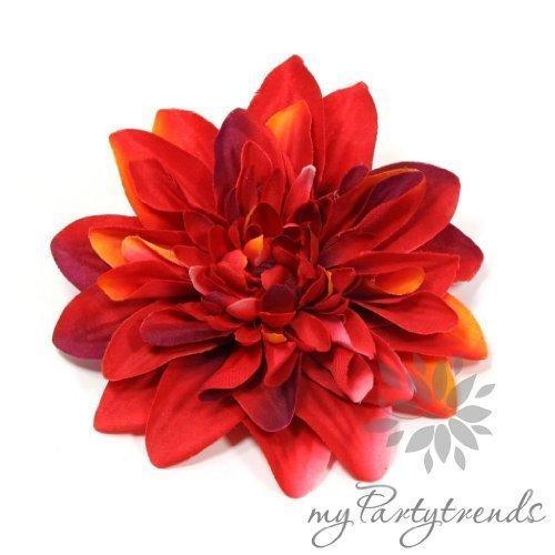 Elegante Ansteck-/Haarblume in rot. Ansteckblume Dahlie (Ø 12 cm; Höhe 2,5 cm) von myPartytrends. Weitere Farbvarianten erhältlich. (Reversblume, Haarschmuck, Seidenblume)