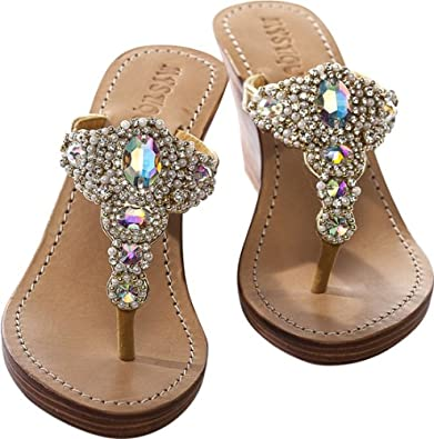 6593679f66f91 Women s Metallic Fine Platform Wedge Slingback Jeweled Sandal. Amazon   Mystique Gold strapped pearl wedge sandals (6)  Shoes