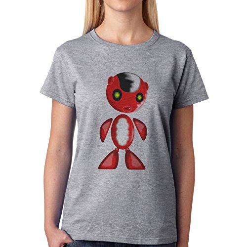 Robot Metal Cyborg Cartoon Red Black Hair XXL Donne T-Shirt