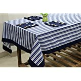 AURAVE Blue Stripes Printed Four Seater Cotton Table Cover With Napkins
