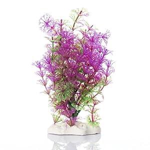 Plante Artificielle Aquatique en Plastique Violet-vert Décoration Aquarium
