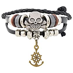 Aaishwarya Skull & Anchor Charm Leather Bracelet For Men & Women