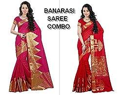 Shoppers Trend Pink and Red BANARASI SAREE COMBO