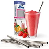 Stainless Steel Reusable Smoothie Straws By Savvy Straws ? Set Of 5 Extra Wide Drinking Straws With Cleaning Brush...