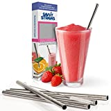 Stainless Steel Wide Smoothie Straws by Savvy Straws® - Set of 5 + Straw Cleaning Brush + Gift Box - Reusable Metal Drinking Straws for Mason Jars, To Go Cups, Glasses, & Tumblers - Extra Large for Protein Shakes, Milkshakes, Cocktails & Smoothies