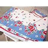 Very Berry Tablecloth by Moda, Red and Blue, 52-by-65-in