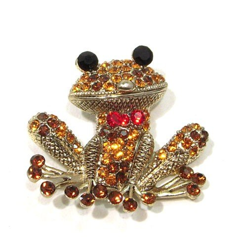Yellow Topaz Austrian Rhinestone Red Bow Tie Frog Gold Plated Brooch Pin Pendant
