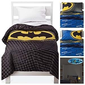 batman dark knight 5 piece bed in a bag twin bedding set reversible comforter. Black Bedroom Furniture Sets. Home Design Ideas