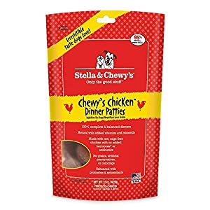 stella & Chewy's Freeze Dried Dog Food for Adult Dogs, Chicken Patties, 15 Ounce (2 pack with free treat)
