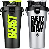 Hydra Cup Dual Threat - Protein & Pre Shaker Bottles, Shaker Cup, 28oz, 2 Pack (Every Damn Day & Stealth Beast) (Color: Silver Black)