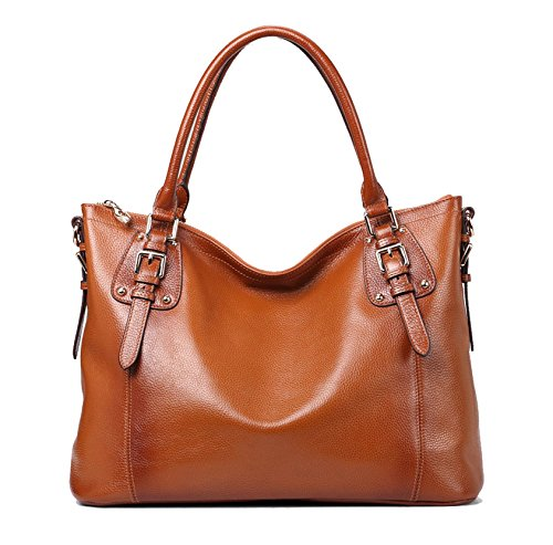 Kattee Vintage Genuine Soft Leather Large Tote Shoulder Bag