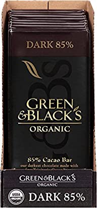 Green & Black's Organic Chocolate Bar, Dark 85% Cacao, 3.5 Ounce (Pack of 10)